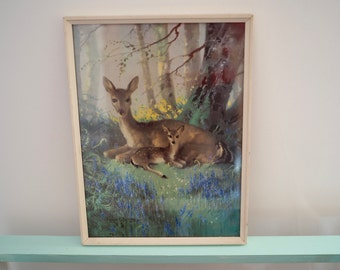 Vintage print Vernon Ward Woodland Portrait deer and fawn painting kitsch