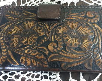 Handtooled genuine leather wallet