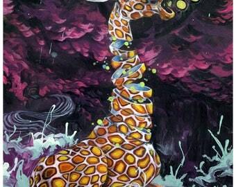 "Giraffe Tapestry - Large Format giraffe Art -  ""Electric Lime Wiggles"" by Black Ink Art"