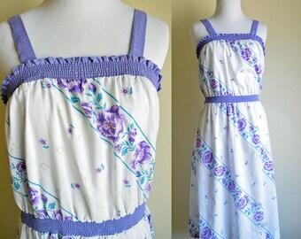 LUX LISBON 70s white floral peasant dress purple trim hippie boho summer strappy ruched bodice Medium