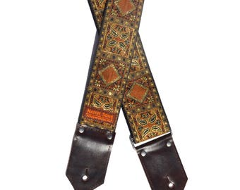 The Hazel Guitar Strap- Metallic gold with brown bronze motif, espresso brown leather ends, custom leather, acoustic, bass, electric guitar