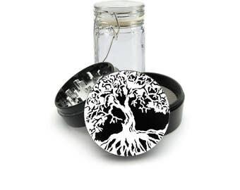 Tree of Life Grinder, 4 Piece Herb Grinder White laser etching Black Anodized aluminum Grinder FREE glass Jar 0244