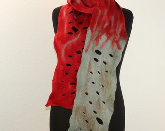 Felted Scarf .Handmade Felted ,Scarf Neckpiece. Wool . Felted wool scarf Stole Red