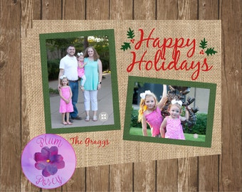 Burlap Happy Holidays Greeting Card 5x7