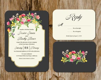 Manhattan Wedding Invitation Suite; Invitation, Reply, Leaves, Garden, Floral, Watercolor