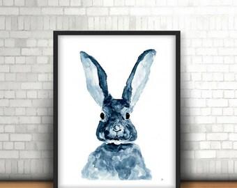 Watercolor bunny hare Print Digital download a4