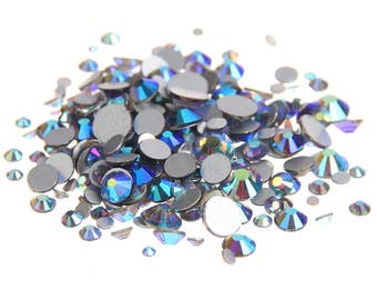 AB Gray  --  Crystal Glass Rhinestones Flatback High Quality no hotfix  Wholesale Pack Lot -- SS4-SS30 Choose your size