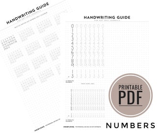 Number Handwriting Guide for Journals and Planners / Dot Grids PDF - 0-9, Calendar Spacing Practice, Practice Dot Grid sized for 5mm grid