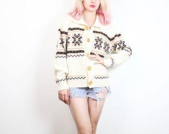 Vintage Hippie Sweater 1970s Cardigan Cream Ivory Brown Nordic Print Cozy Knit Jumper 70s Sweater Bohemian Boyfriend Sweater Boho L Large