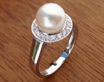 Akoya Cultured Pearl with Diamond Halo Engagement Ring Solid 14k White Gold /June Birthstone