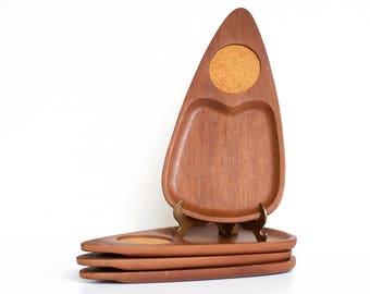 Midcentury Sere Wood Snack Trays | Set of 4