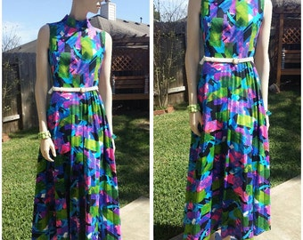 vintage 60s mod long dress vibrant colors by Paul of California