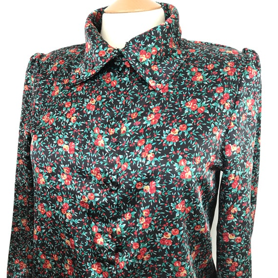 Vintage blouse 1940s style rose print shirt 1980s silky satin floral high neckline WW2 look UK 12 14 40s