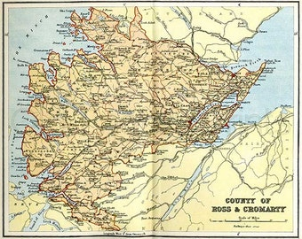 Ross and Cromarty 1885 - Antique Scottish County Map - 10 x 8 ins PRINT - FREE P&P UK