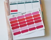 Scallop Planner Stickers, Scalloped Labels, Label Stickers, set of 24 Planner Stickers, Pink