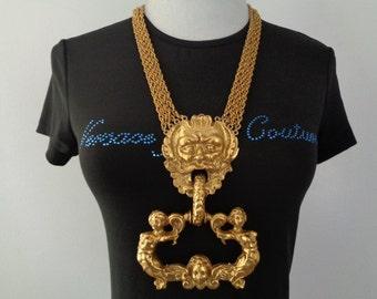 Vtg Spectacular HUGE Rich Golden Ornate Brass Poseidon Neptune Doorknocker Mythology Nymphs Greek god 4 Strand Chain Runway Pendant Necklace