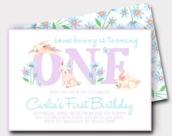 Bunny Birthday Invitation   Some Bunny Is One   Floral Birthday Invitation   Spring Birthday Invitation   First Birthday Invitation