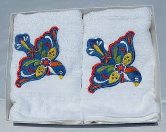 Embroidered accent towels, Bluebird, Mexican or Folk Art