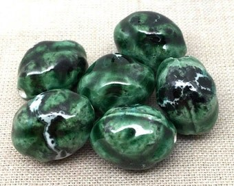 10 Baroque Oval Green Porcelain Beads