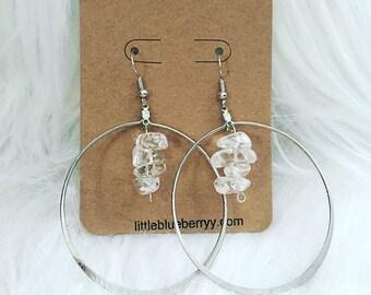 Large Silver Quartz Crystal Healer Hoop Earrings