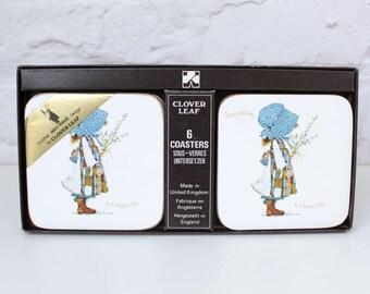 Holly Hobbie Coasters, Vintage Holly Hobbie, Clover Leaf Coasters, Vintage Home, Drink Coasters, Holly Hobbie Gifts, 1970s Home, Sarah Kay