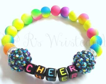 Girls Beaded Bracelet, Cheer, Cheerleading, Neon Bracelet, Stretch Bracelet, Handmade Bracelet, Beaded Jewelry, Little Girls Bracelet,