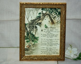 """Vintage Framed Picture Old Mill and """"Out Fishin'"""" Verse"""