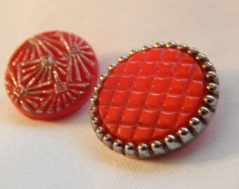 Red Glass Buttons with Silver Luster- 2