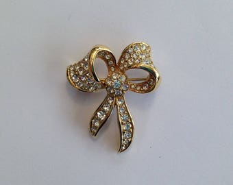 Vintage Attwood and Sawyer Goldplate and Crystal Bow Brooch.