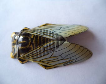 Vintage Lightweight Multi Coloured Tin Cicada Brooch/Pin  Made in Japan