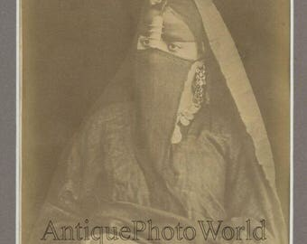 Egypt young woman in hijab antique albumen art photo