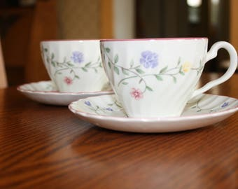 Johnson Brother's Summer Chintz Pattern (2) Teacups and Saucers