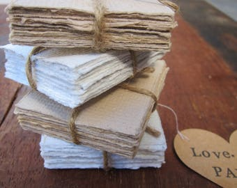 "Handmade paper, LOVE Note Paper, Recycled paper, Handmade stationery, Letter Writing paper, Small blank note cards, 5cm x 5cm, 2"" x 2"""