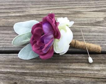 Mens boutonnière, silk flower boutonnière, grooms boutonnière, violet purple boutonnière