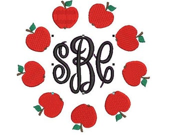 Apple Back to School Teacher Circle Frame File for Embroidery Machine Monogram Instant Download