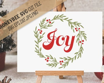 Joy Wreath svg Joy svg Christmas svg Christmas wreath svg Christmas decor svg Holiday decor svg Silhouette svg Cricut svg eps dxf