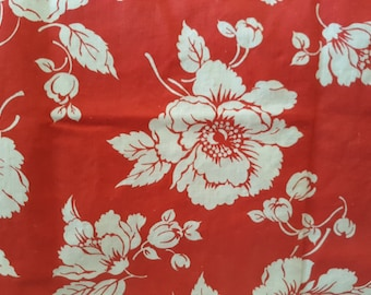 """1940's very light weight woven cotton red with big white flowers flour sack 33"""" by 22"""" wide (each side) sack shape w/ corner string w/ stamp"""