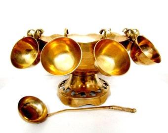 Vintage Punch Bowl Set, 12 Cups and Ladel, Brass Punch Bowl Set, Wedding Shower Reception Serving Piece