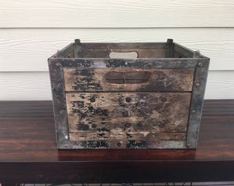 Antique wooden metal box milk soda crate primitive shabby chic