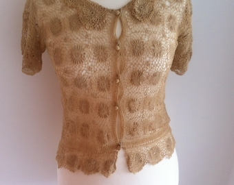 1930s Fine Crochet Knitted Button Front Top - Small