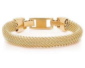 Jackie Kennedy Mesh Bracelet - Gold Plated, Box and Certificate - Sz 7 or 8