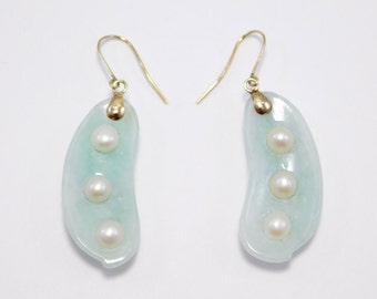 14K Estate Jade & Cultured Pearl Pea Pod Earrings