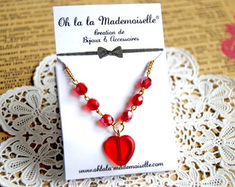 Romantic red glass heart pendant necklace - Romance necklace, heart necklace, queen of hearts, love necklace