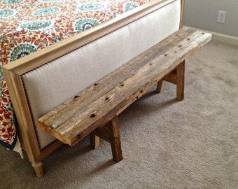 Custom Reclaimed Wood Bench - Entryway Bench, Bedroom Bench, Mudroom Bench