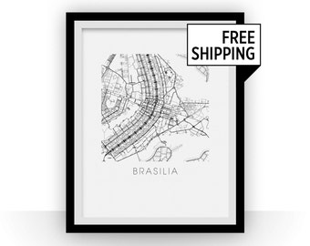 Brasilia Map Black and White Print - brazil Black and White Map Print