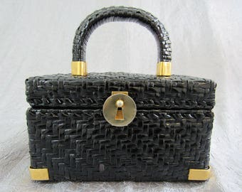 1950s - 60s Koret of California Black Basketweave Box Bag with Keyhole Clasp