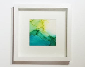 Abstract: 5x5 inch Blue-Green Ink with Frame! Original one-of-a-kind artwork. Blue-Green03