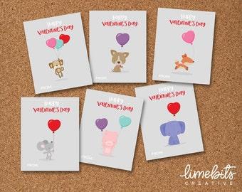 Valentine's Animal with Balloons Printable Kids Cards. EDITABLE
