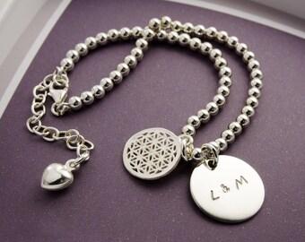 Bracelet with engraved name bracelet beads 925 Silver