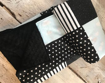 Baby blanket ,clouds, black and white. black minky